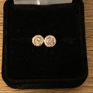 Jewelry - 1/2ct 14kt Gold Halo Earrings